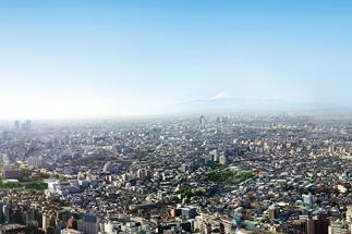 展望台から見下ろす東京の街並みと富士山